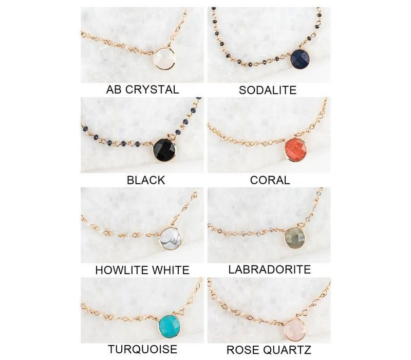Crystal Beaded Natural Stone Short Pendant Necklaces in 8 Color Choices