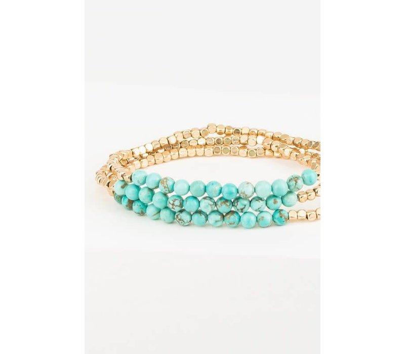 Dainty Natural Stone + Metal Bead Layering Bracelets