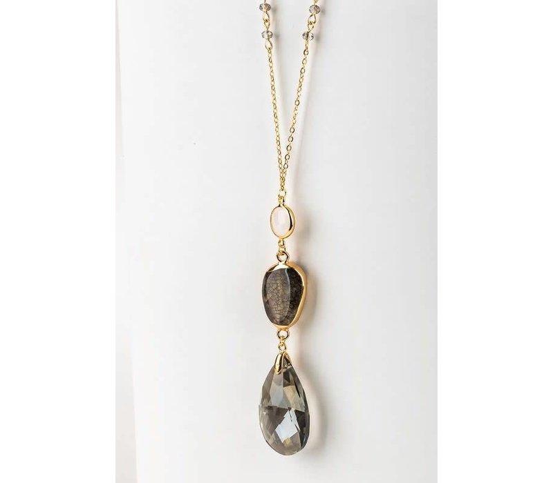 Natural Stone Casting & Teardrop Pendant Necklace- Black