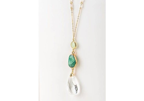 Natural Stone Casting & Teardrop Pendant Necklace- Green