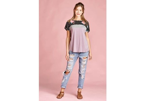 Colorblock Ash Purple Polka Dot & Floral Tee