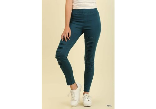 BEST SELLER- Distressed Jeggings in TEAL (S-2X)