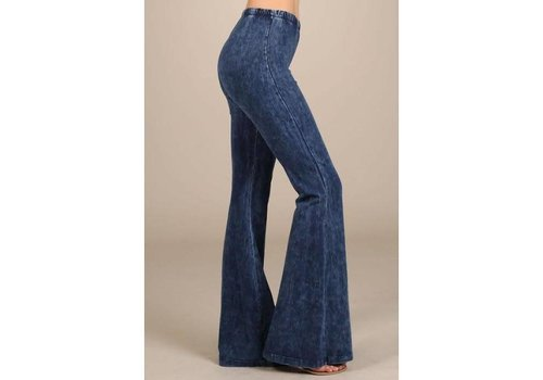 RESTOCK- Faux Denim Bell Bottoms (S-3X)