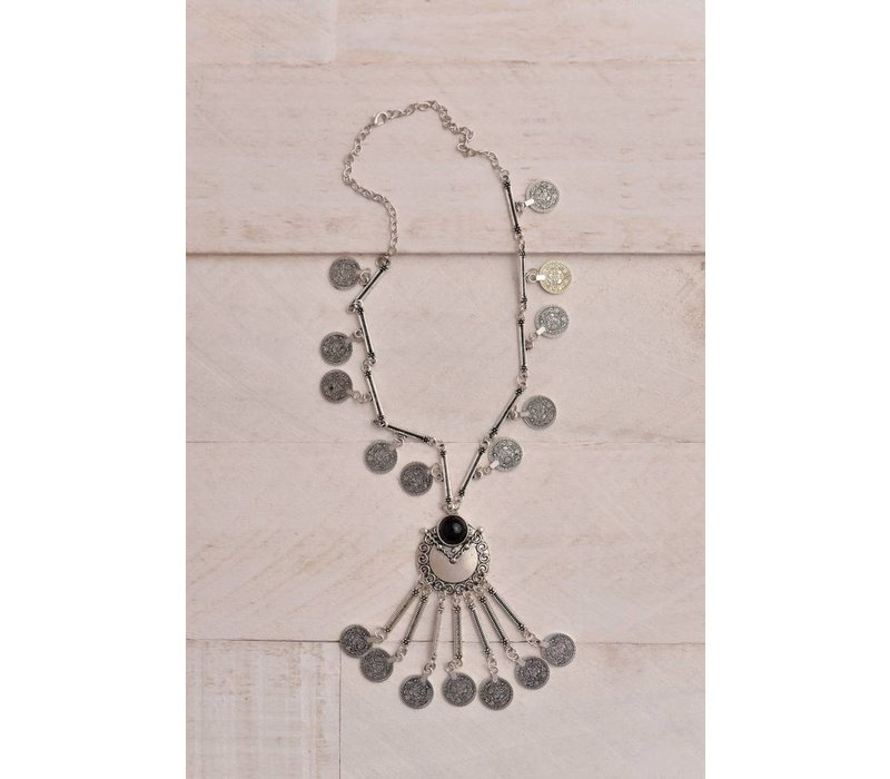 Gypsie Silver Etched Coin Necklace