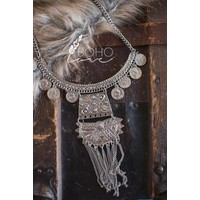 Etched Silver Statement Necklace
