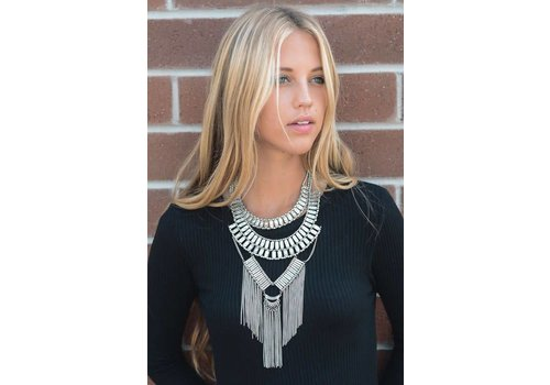 2 in 1 Bohemian Silver Chain Fall Necklace