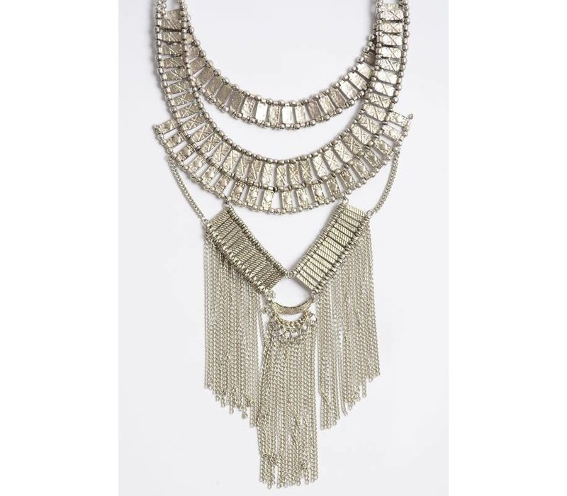 Bohemian Silver Chain Fall Necklace