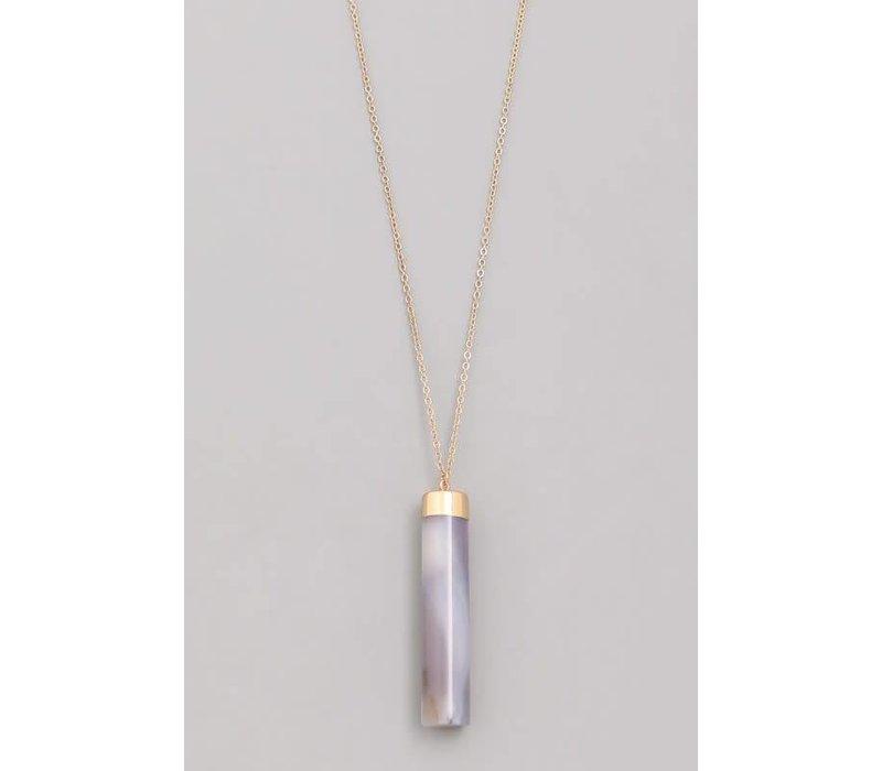 Faux Natural Stone Cylinder Pendant Necklaces-4 Colors