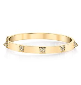 ANITA KO ANITA KO 18K OVAL CUFF WITH DIAMOND SPIKES