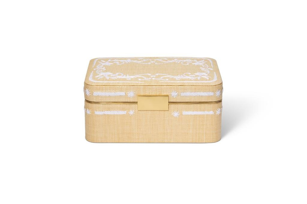 AERIN AERIN BEAUVAIS EMBROIDERED RAFFIA JEWELRY BOX