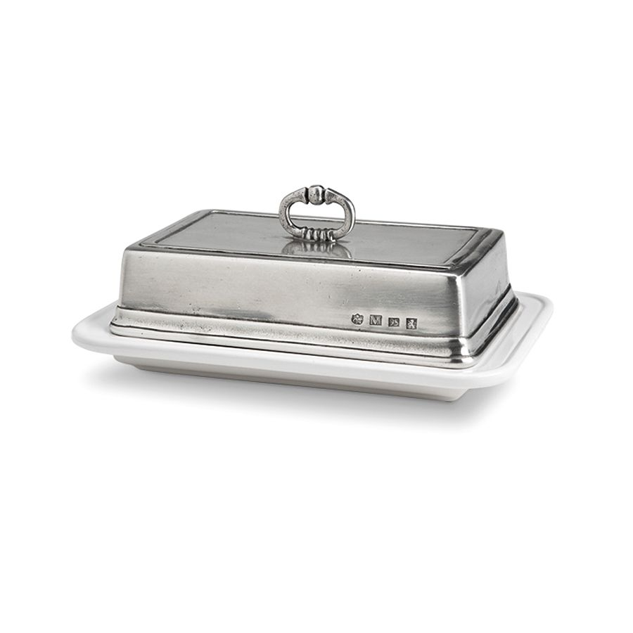 MATCH MATCH PEWTER CONVIVIO DOUBLE BUTTER DISH WITH COVER