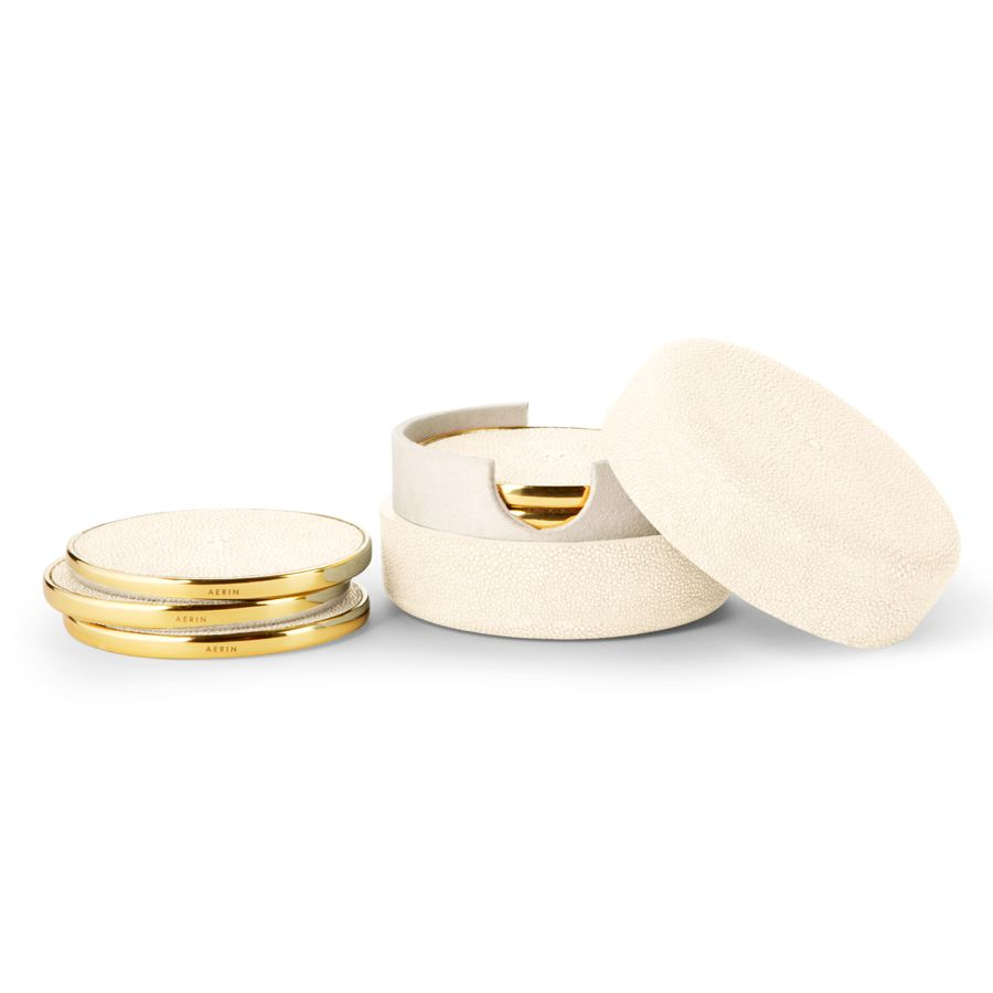 AERIN AERIN SHAGREEN CREAM COASTERS