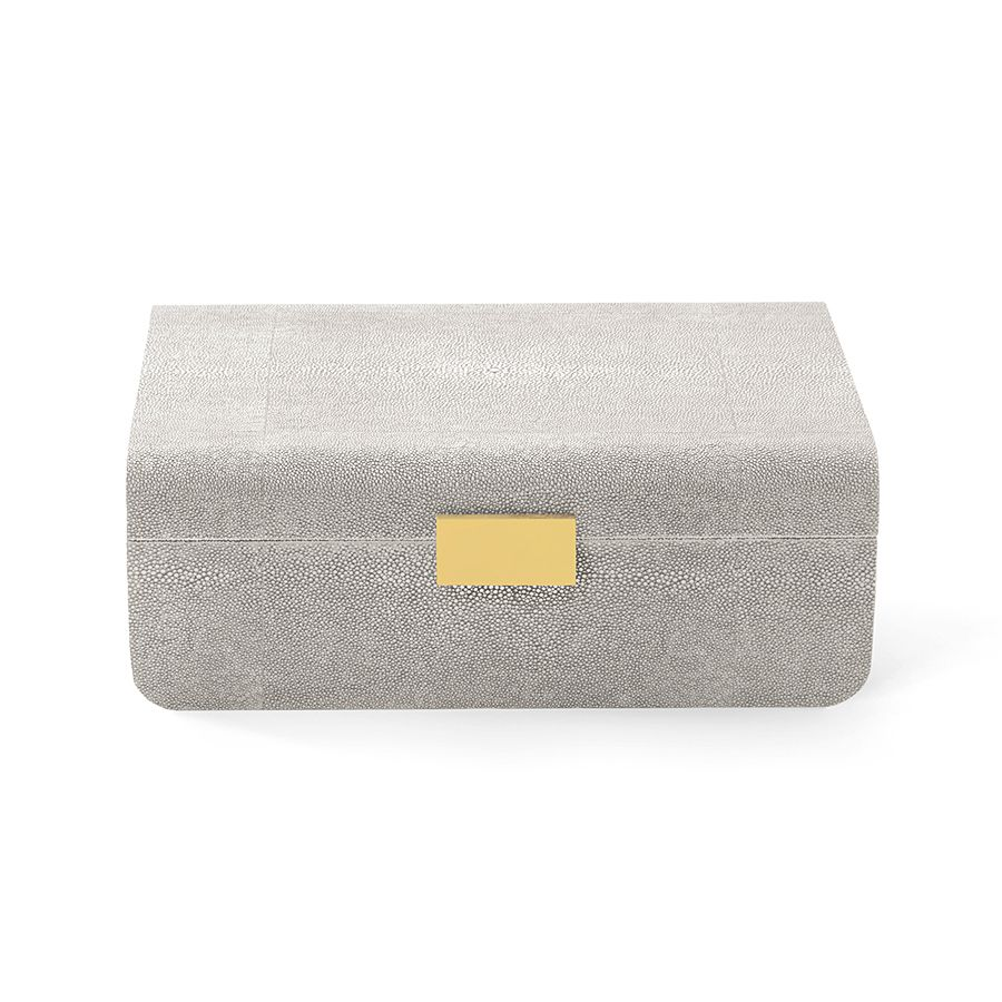 AERIN AERIN MODERN SHAGREEN JEWELRY BOX DOVE