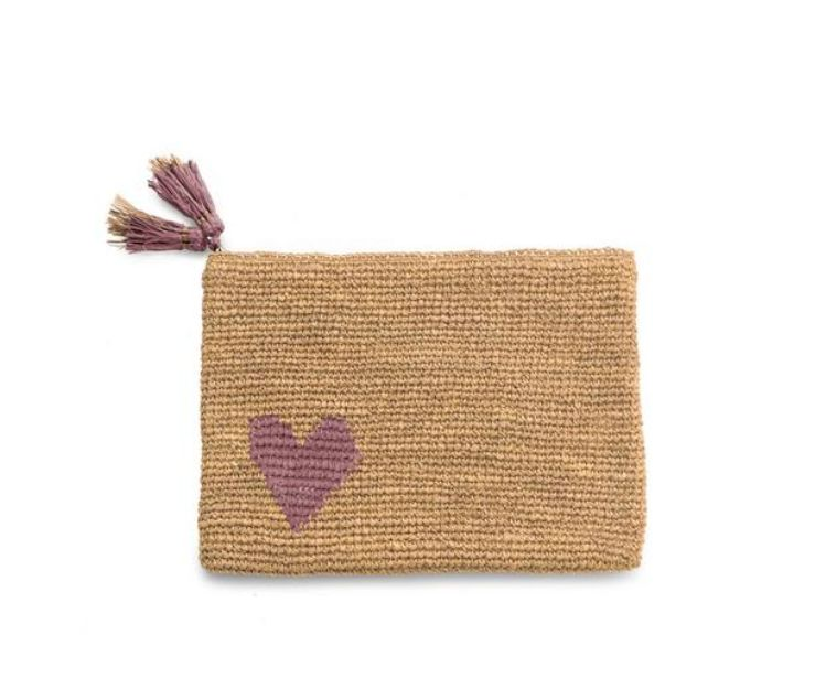 RAFFIA POUCH PINK LARGE