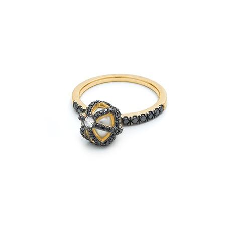HALLEH JEWELRY HALLEH SPHAERA DANGLE BLACK DIAMOND RING