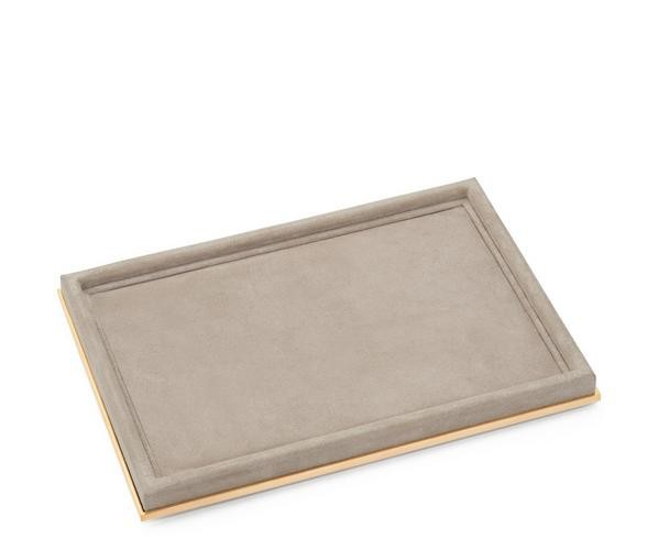 AERIN AERIN SUEDE RECTANGLE DUNE TRAY