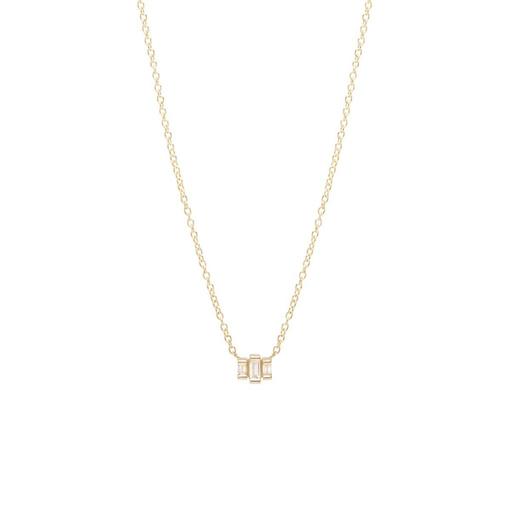 ZOE CHICCO ZOE CHICCO 14K 3 STEP BAGUETTE NECKLACE