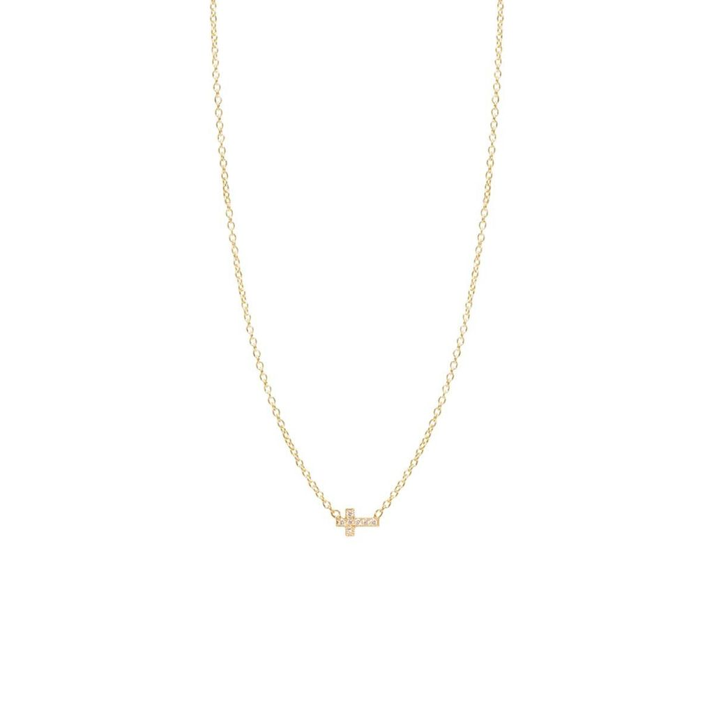 ZOE CHICCO ZOE CHICCO 14K ITTY BITTY OFF CENTER CROSS NECKLACE