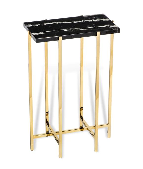 INTERLUDE HOME LAURENT BLACK MARBLE RECTANGLE DRINK TABLE