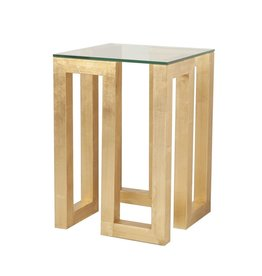 WORLDS AWAY EVAN GOLD LEAF SIDE TABLE