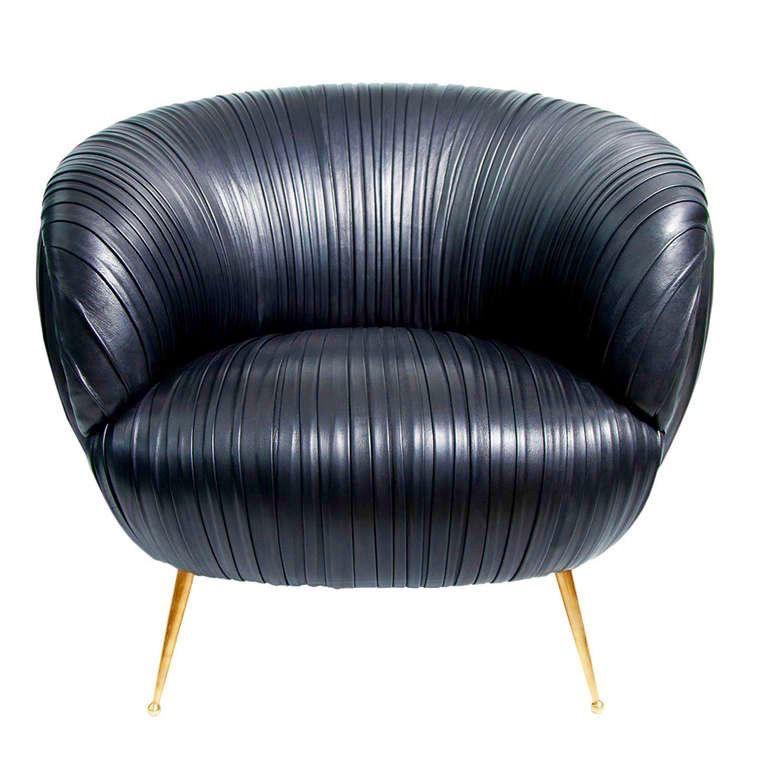 Kelly Wearstler Navy Leather Souffle Chair