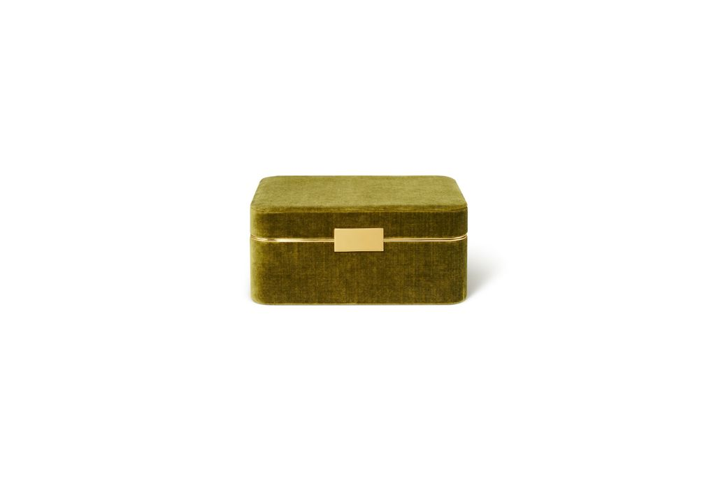 AERIN AERIN BEAUVAIS VELVET JEWELRY BOX IN MOSS