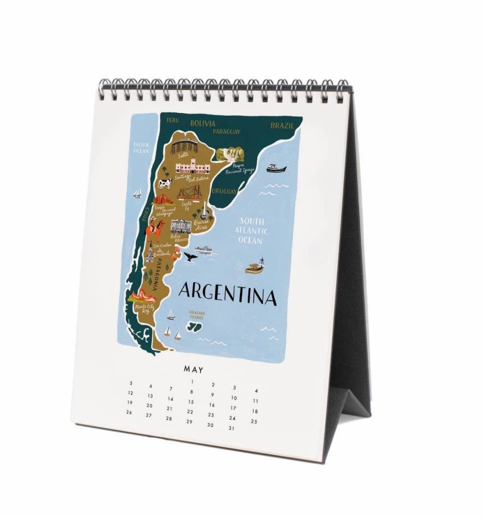 Rifle Paper Co. RPCADE - 2019 Maps of the World Desk Calendar