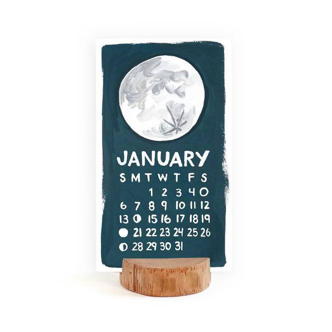 one canoe two letterpress 2019 Desk Calendar with Wood Stump Stand