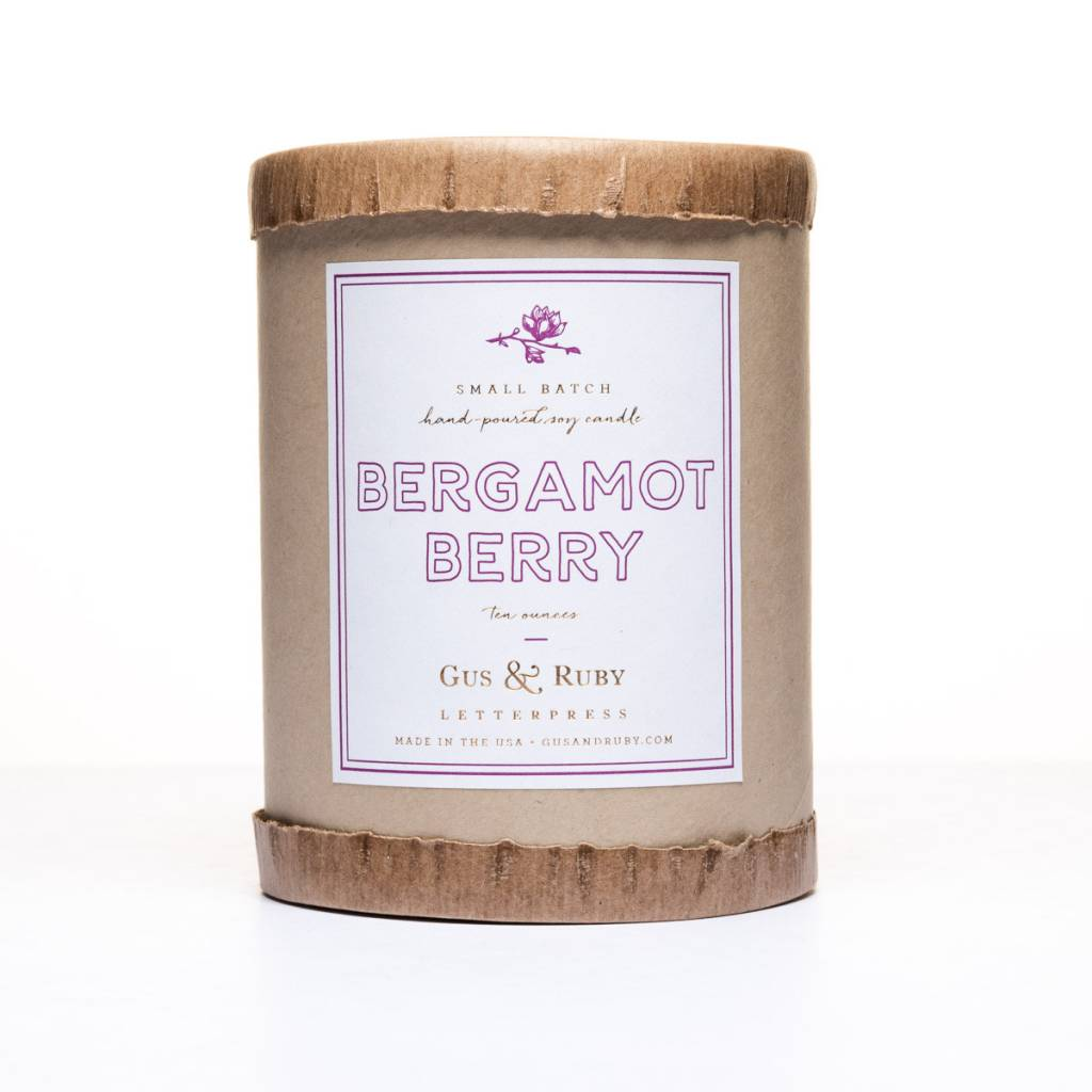 Gus and Ruby Letterpress Gus and Ruby Bergamot Berry Candle