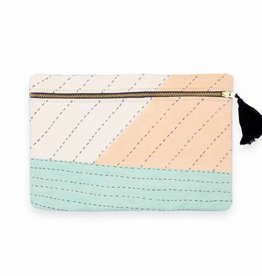 Anchal Project ANPBAME - Small Patchwork Mint Pouch