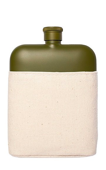 Izola Army Green Flask with Canvas Carrier