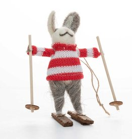 Cody Foster Woodland Skiing Rabbit Ornament