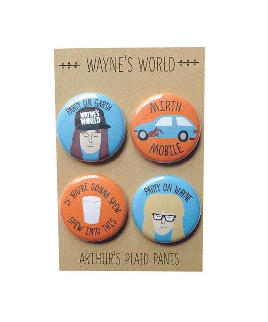 Arthurs Plaid Pants Waynes World 4pc Magnet set