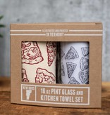 New Duds Pizza Pint Glass & Tea Towel Set