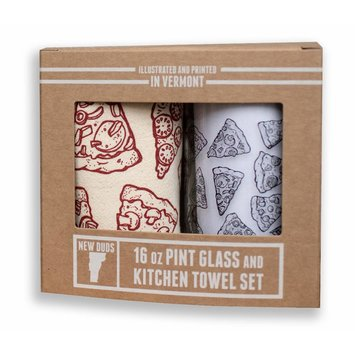 New Duds NEDHG - Pizza Pint Glass & Tea Towel Set
