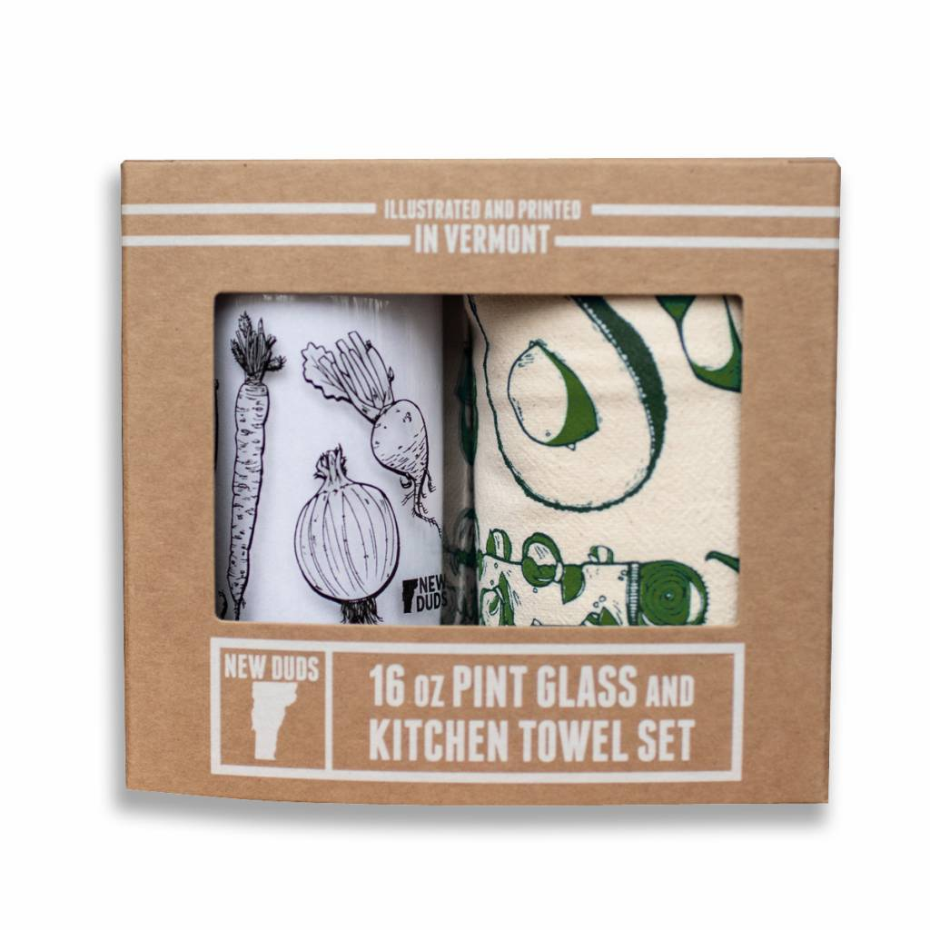 New Duds NEDHG - Vegetables Pint Glass & Tea Towel Set