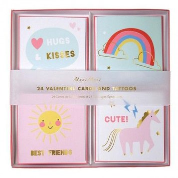 Meri Meri MEM NSLO - Unicorn Valentine Note Set, set of 24
