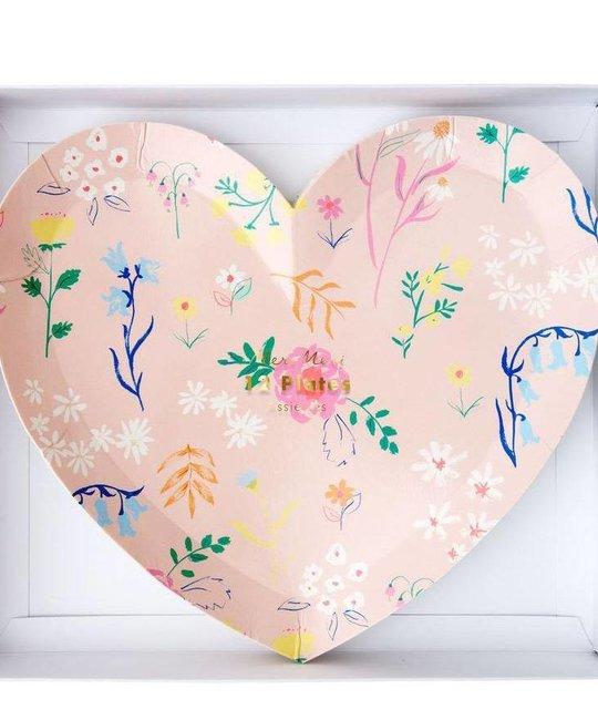 Meri Meri Floral Patterned Heart Plates