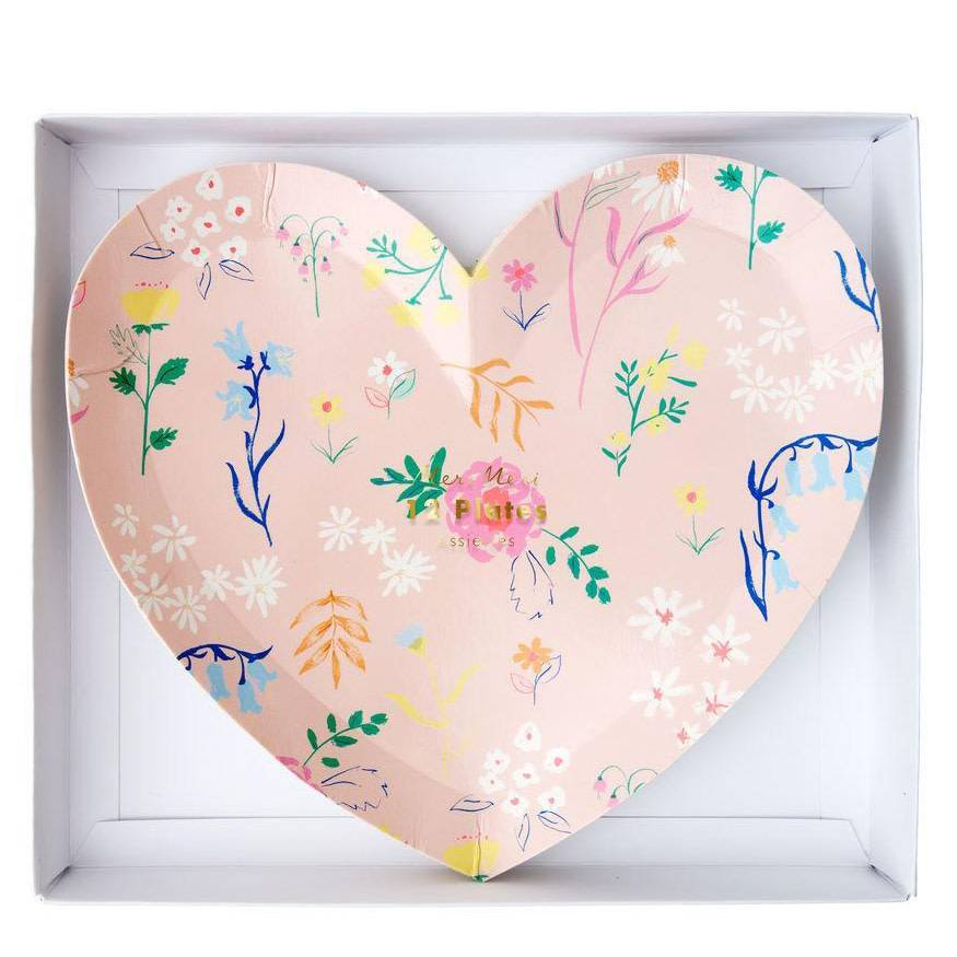 Meri Meri MEM PS - Patterned Heart Plates Sm, set of 8