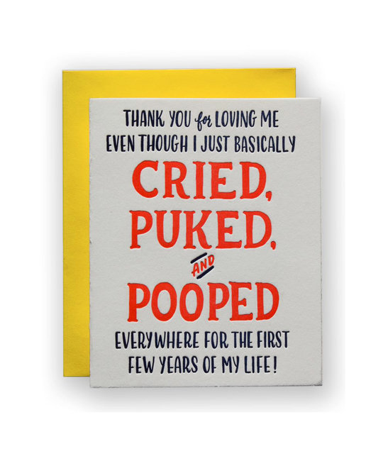 Ladyfingers Letterpress - LF Cried Puked Pooped Greeting Card