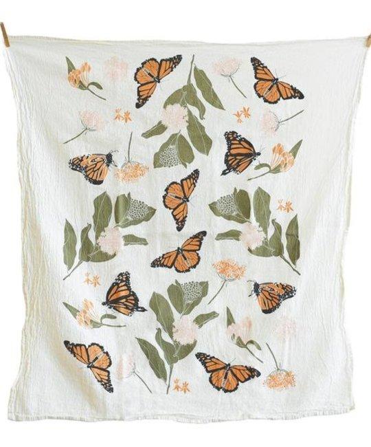 June and December Monarchs + Milkweeds Tea Towel