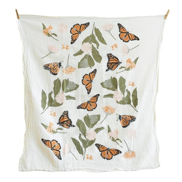June and December Monarchs + Milkweeds Tea Towel