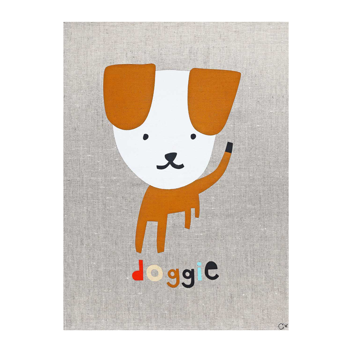 Castle and Things Doggie Art Tea Towel