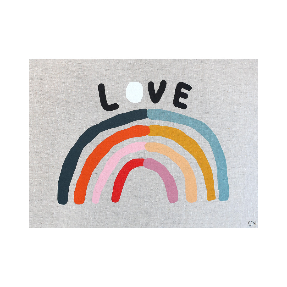 Castle and Things Love Rainbow Art Tea Towel