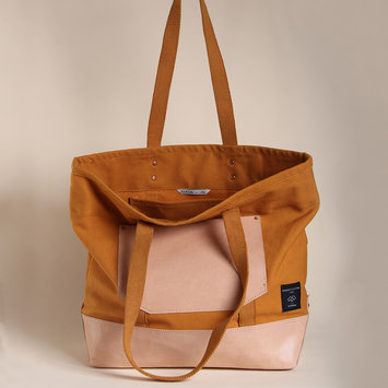 IMMODEST COTTON x Fleabags Mustard Seed East West Bucket Tote