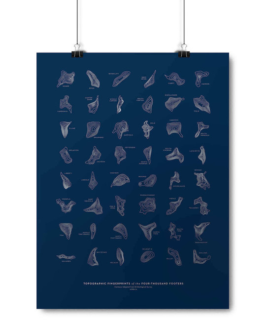 With Brio Topographic Fingerprints of NH 4,000-Footers - Art Print