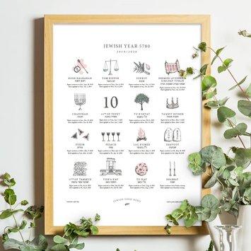 Jewish Food Hero Letterpress Jewish Holiday Calendar for 2019/2020