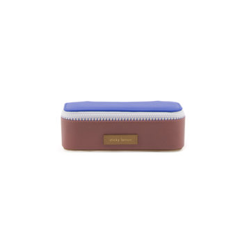 Sticky Lemon Colorblock Pencil Case, Blue and Brown