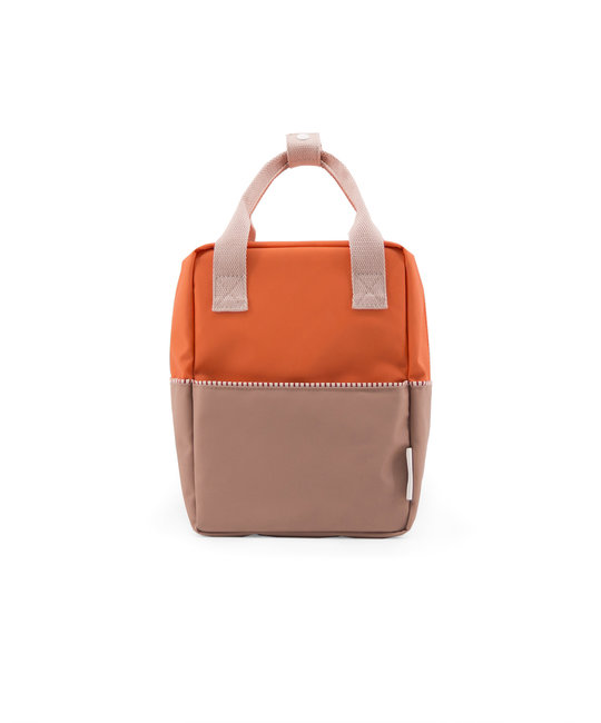 Sticky Lemon Colorblock Backpack Small, Orange and Brown