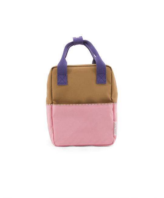 Sticky Lemon Colorblock Backpack Small, Brown and Pink